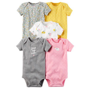 New Carters Baby Girl 5-pk Bodysuit Set Clothes